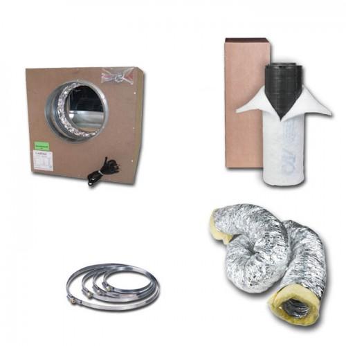 Kit aspiratore Insonorizzato + Filtro antiodore a carboni attivi Ø12.5CM - 250 m3/h