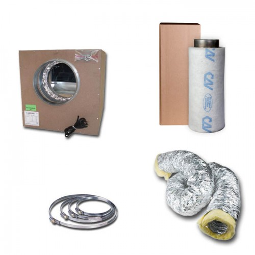 Kit aspiratore Insonorizzato + Filtro antiodore a carboni attivi Ø16CM - 550 m3/h