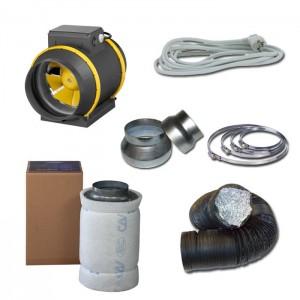 Kit aspiratore d'aria + Filtro antiodore a carboni attivi Ø20CM - 1220 m3/h