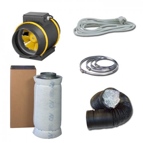 Kit aspiratore d'aria + Filtro antiodore a carboni attivi Ø25CM - 1660 m3/h