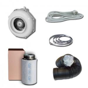 Kit aspiratore d'aria + Filtro antiodore a carboni attivi Ø16CM - 460 m3/h