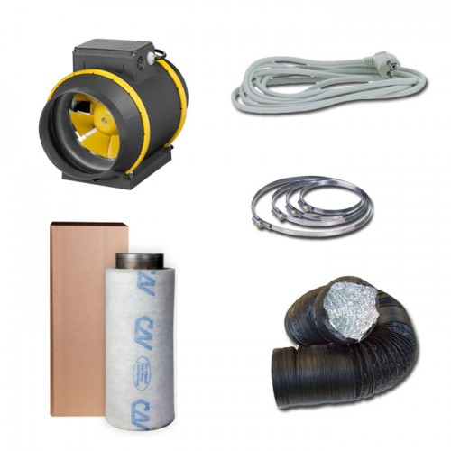 Kit aspiratore d'aria + Filtro antiodore a carboni attivi Ø16CM - 615 m3/h