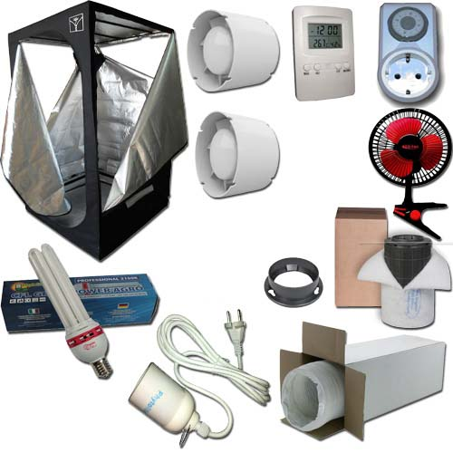 Kit Growbox 60x60x140 Economy con CFL 125W Agro