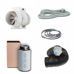 Kit aspiratore d'aria + Filtro antiodore a carboni attivi Ø12.5CM - 310 m3/h